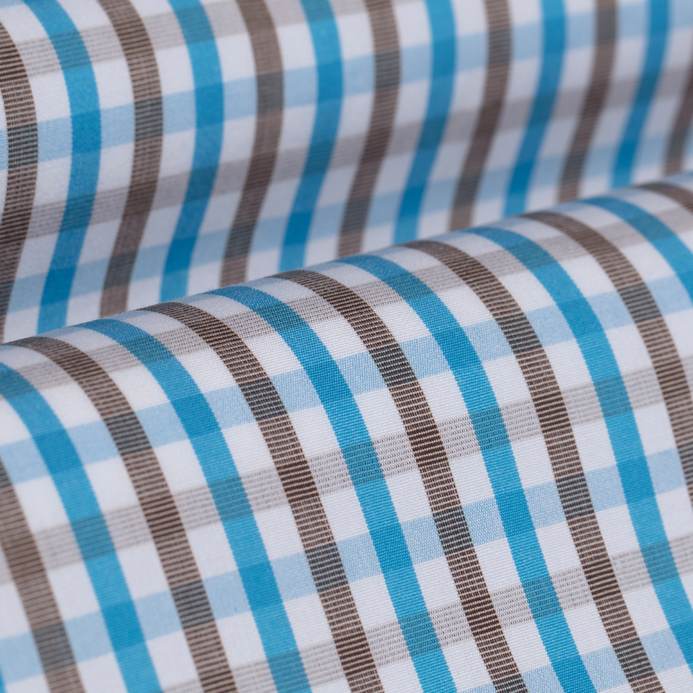 Germirli Turkuaz Kahvei Kareli Düğmeli Yaka Tailor Fit Gömlek
