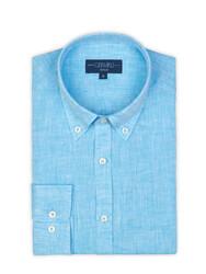 Germirli - Germirli Turkuaz Keten Düğmeli Yaka Tailor Fit Gömlek (1)