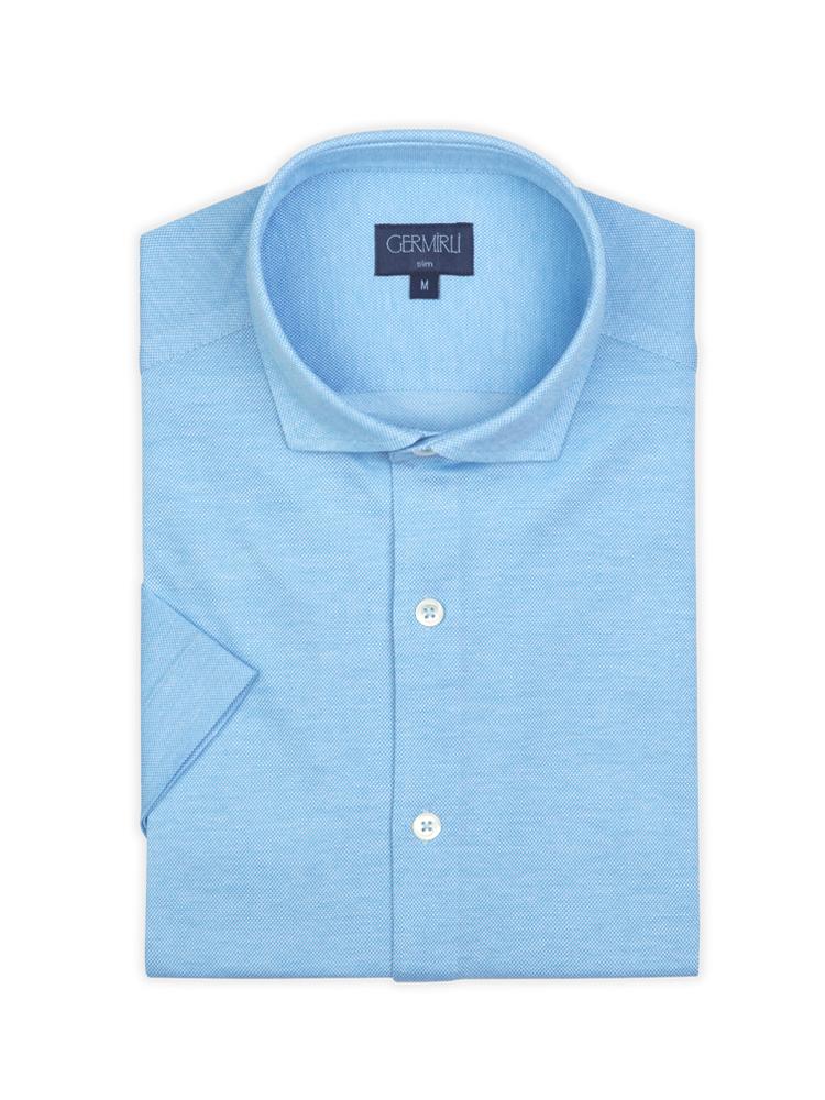 Germirli Turkuaz Klasik Yaka Örme Kısa Kollu Slim Fit Gömlek