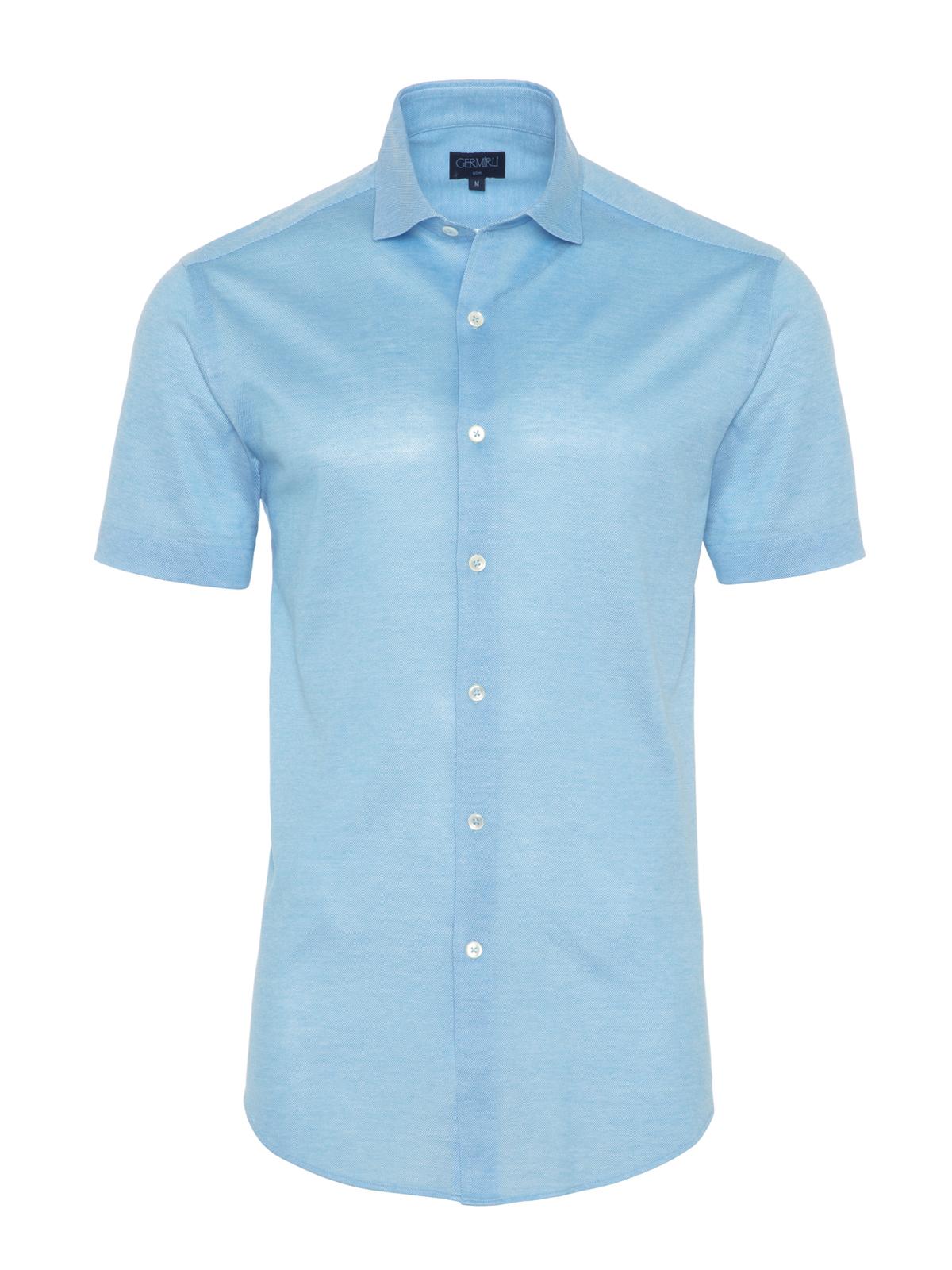Germirli - Germirli Turkuaz Klasik Yaka Örme Kısa Kollu Slim Fit Gömlek