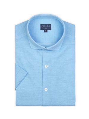 Germirli - Germirli Turkuaz Klasik Yaka Örme Kısa Kollu Slim Fit Gömlek (1)