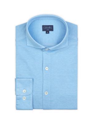 Germirli - Germirli Turkuaz Klasik Yaka Örme Slim Fit Gömlek (1)