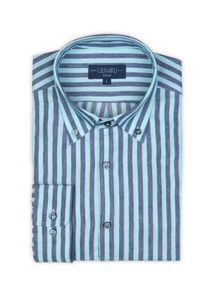 Germirli - Germirli Turkuaz Lacivert Çizgili Pamuk Keten Düğmeli Yaka Tailor Fit Gömlek (1)