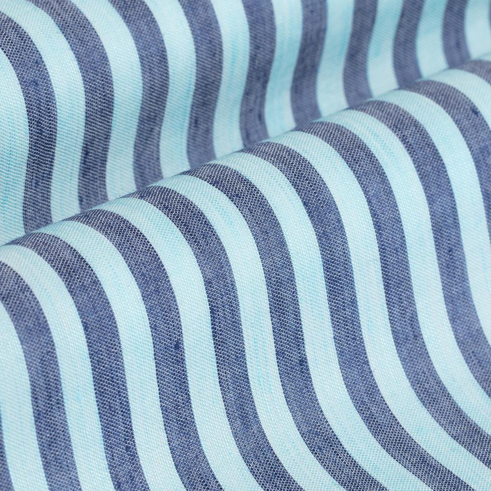 Germirli Turkuaz Lacivert Çizgili Pamuk Keten Düğmeli Yaka Tailor Fit Gömlek