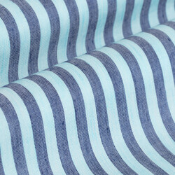 Germirli Turkuaz Lacivert Çizgili Pamuk Keten Düğmeli Yaka Tailor Fit Gömlek - Thumbnail