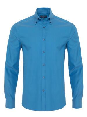 Germirli - Germirli Turkuaz Oxford Düğmeli Yaka Tailor Fit Gömlek