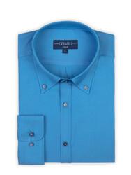 Germirli - Germirli Turkuaz Oxford Düğmeli Yaka Tailor Fit Gömlek (1)