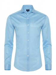 Germirli - Germirli Turquois Semi Spread Collar Piquet Knitted Slim Fit Shirt