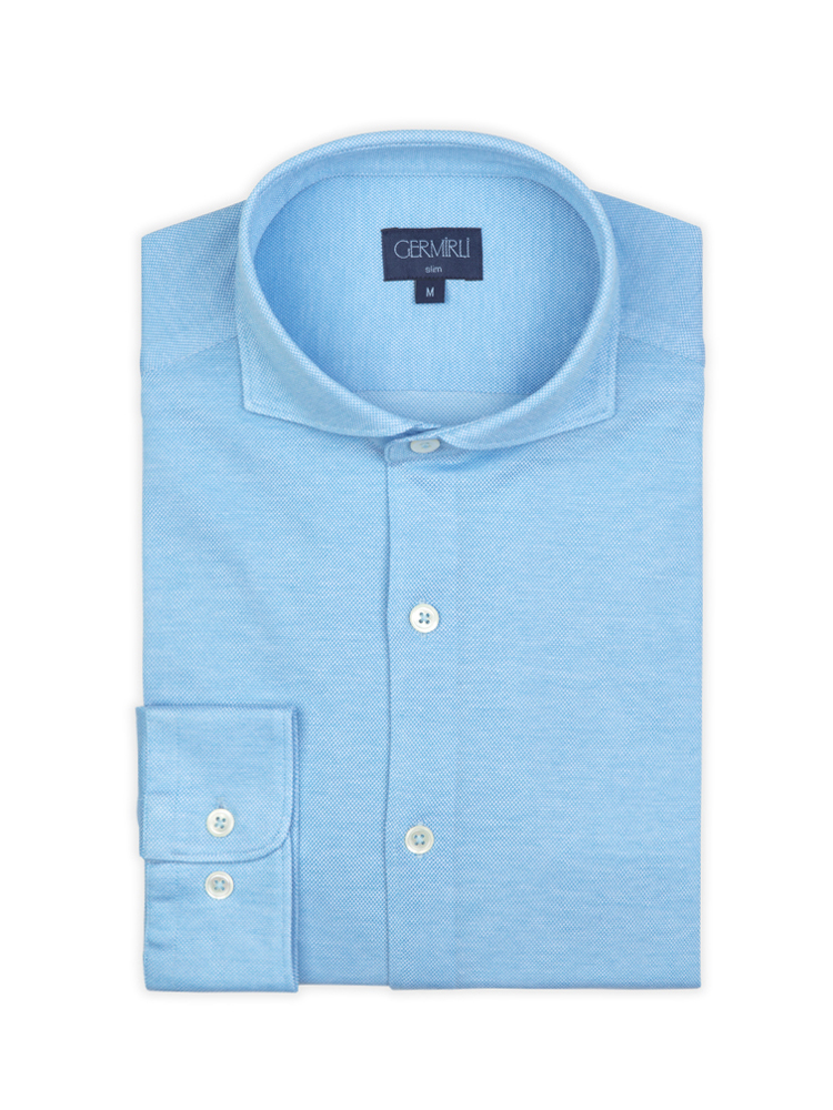 Germirli Turquois Semi Spread Collar Piquet Knitted Slim Fit Shirt