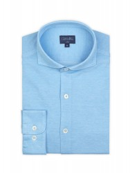 Germirli - Germirli Turquois Semi Spread Collar Piquet Knitted Slim Fit Shirt (1)