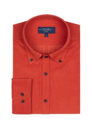 Germirli - Germirli Turuncu Kadife Düğmeli Yaka Tailor Fit Gömlek (1)