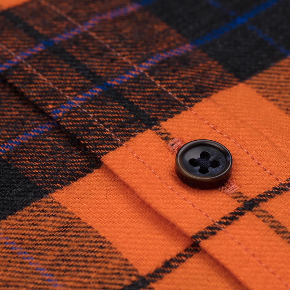Germirli Turuncu Siyah Kareli Keten Düğmeli Yaka Flanel Tailor Fit Gömlek