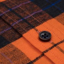 Germirli Turuncu Siyah Kareli Keten Düğmeli Yaka Flanel Tailor Fit Gömlek - Thumbnail