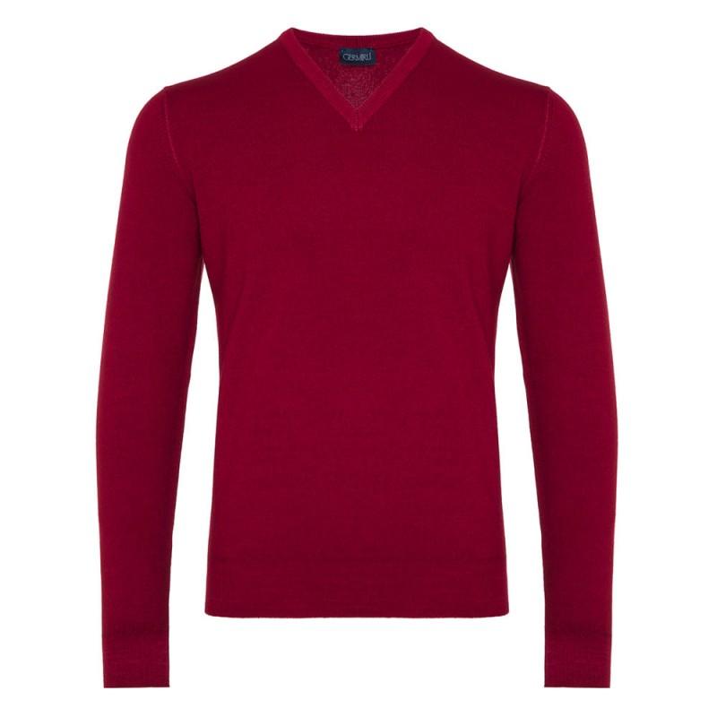 Germirli V Yaka Vintage Extra Fine Merino Yün Kırmızı Triko