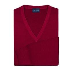 Germirli - Germirli V Yaka Vintage Extra Fine Merino Yün Kırmızı Triko (1)