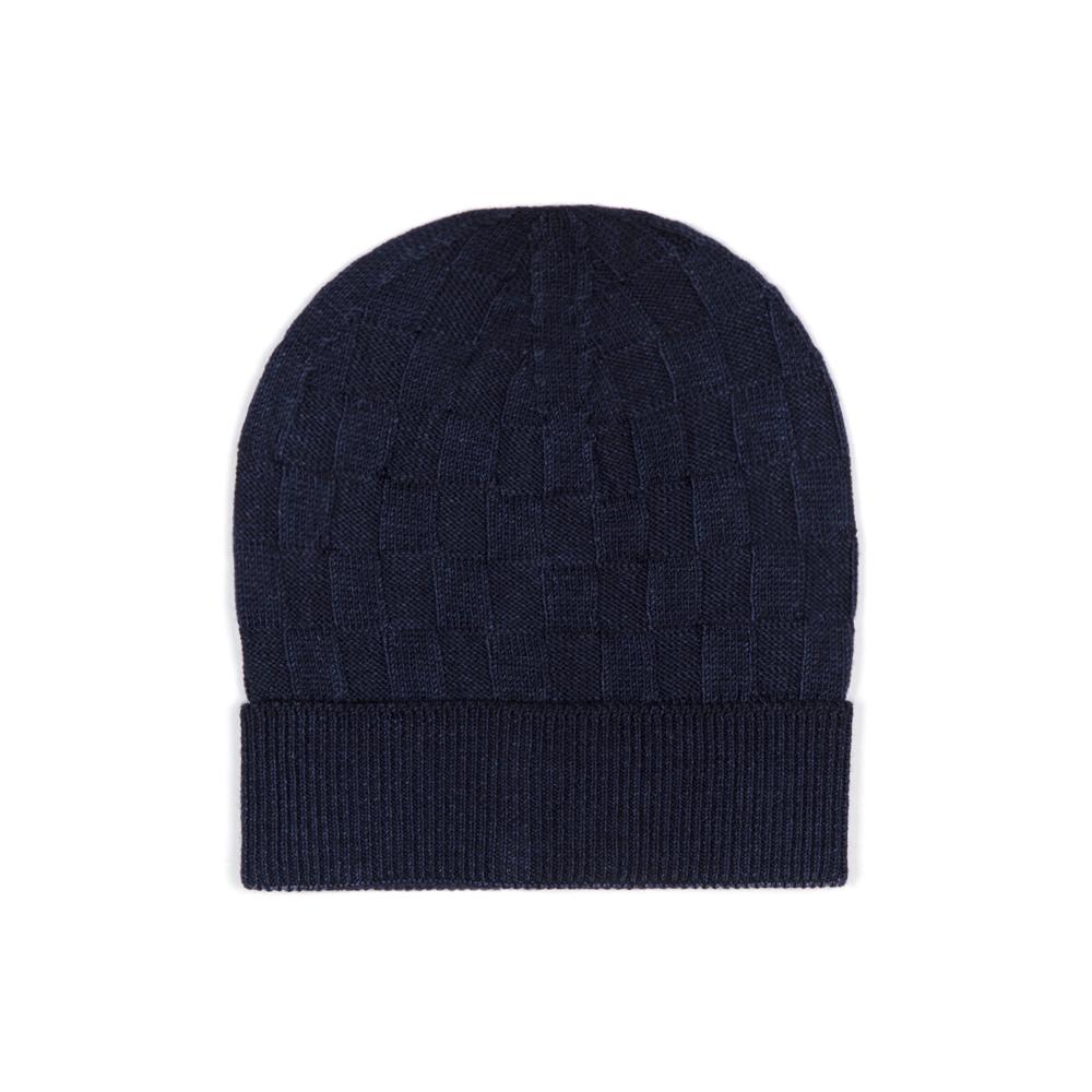 Germirli - Germirli Vintage Navy Blue Square Textured Hat