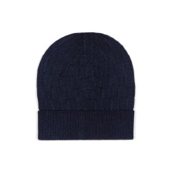 Germirli - Germirli Vintage Navy Blue Square Textured Hat