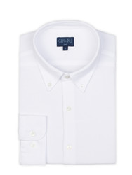 Germirli - Germirli White Button Down Collar Knitted Shim Fit Shirt (1)