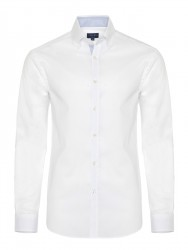 Germirli White Panama Weaving Button Down Collar Tailor Fit Shirt - Thumbnail