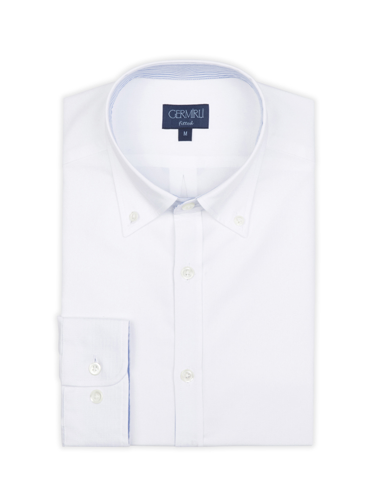 Germirli White Panama Weaving Button Down Collar Tailor Fit Shirt