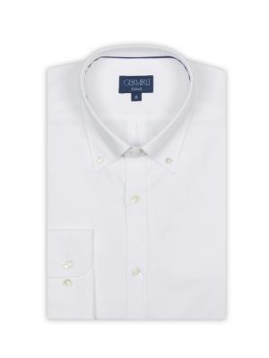 Germirli - Germirli White Panama Weaving Button Down Collar Tailor Fit Shirt (1)
