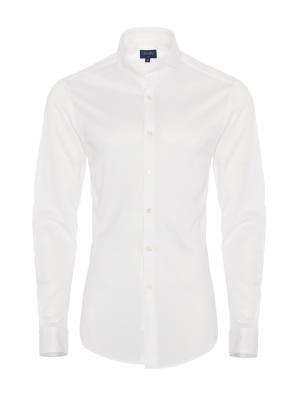 Germirli - Germirli White Semi Spread Collar Piquet Knitted Slim Fit Shirt