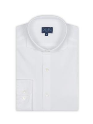 Germirli - Germirli White Semi Spread Collar Piquet Knitted Slim Fit Shirt (1)