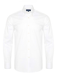 Germirli - Germirli X-Thermotech White Oxford Button Down Tailor Fit Shirt