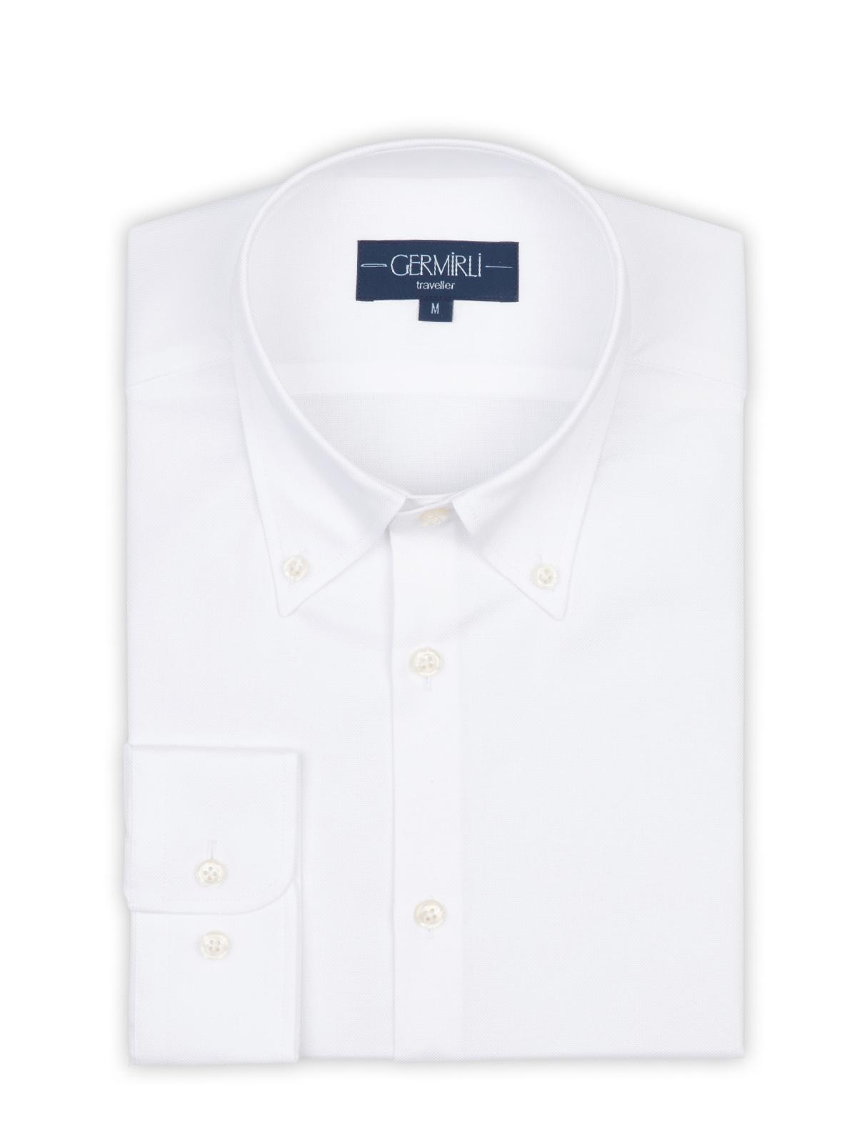 Germirli X-Thermotech Beyaz Oxford Düğmeli Yaka Tailor Fit Gömlek