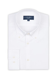 Germirli - Germirli X-Thermotech White Oxford Button Down Tailor Fit Shirt (1)
