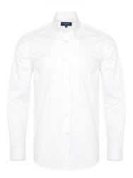 Germirli - Germirli X-Thermotech Beyaz Oxford Düğmeli Yaka Tailor Fit Gömlek