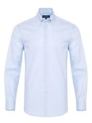 Germirli - Germirli X-Thermotech Mavi Oxford Düğmeli Yaka Tailor Fit Gömlek