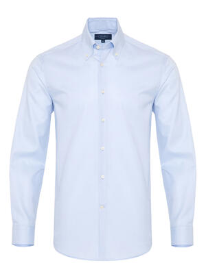 Germirli - Germirli X-Thermotech Blue Oxford Button Down Tailor Fit Shirt