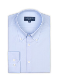 Germirli - Germirli X-Thermotech Blue Oxford Button Down Tailor Fit Shirt (1)
