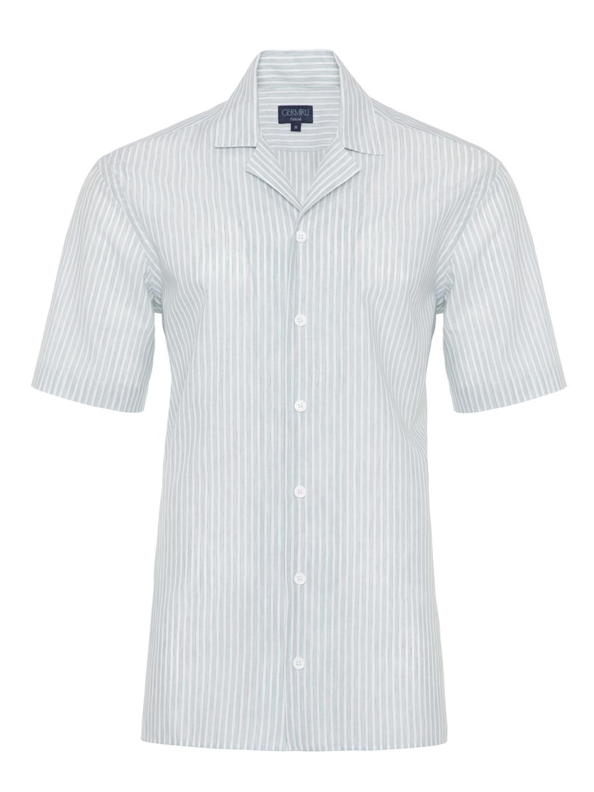 Germirli Yeşil Beyaz Çizgili Hawaii Kısa Kollu Tailor Fit Gömlek