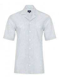 Germirli - Germirli Yeşil Beyaz Çizgili Hawaii Kısa Kollu Tailor Fit Gömlek