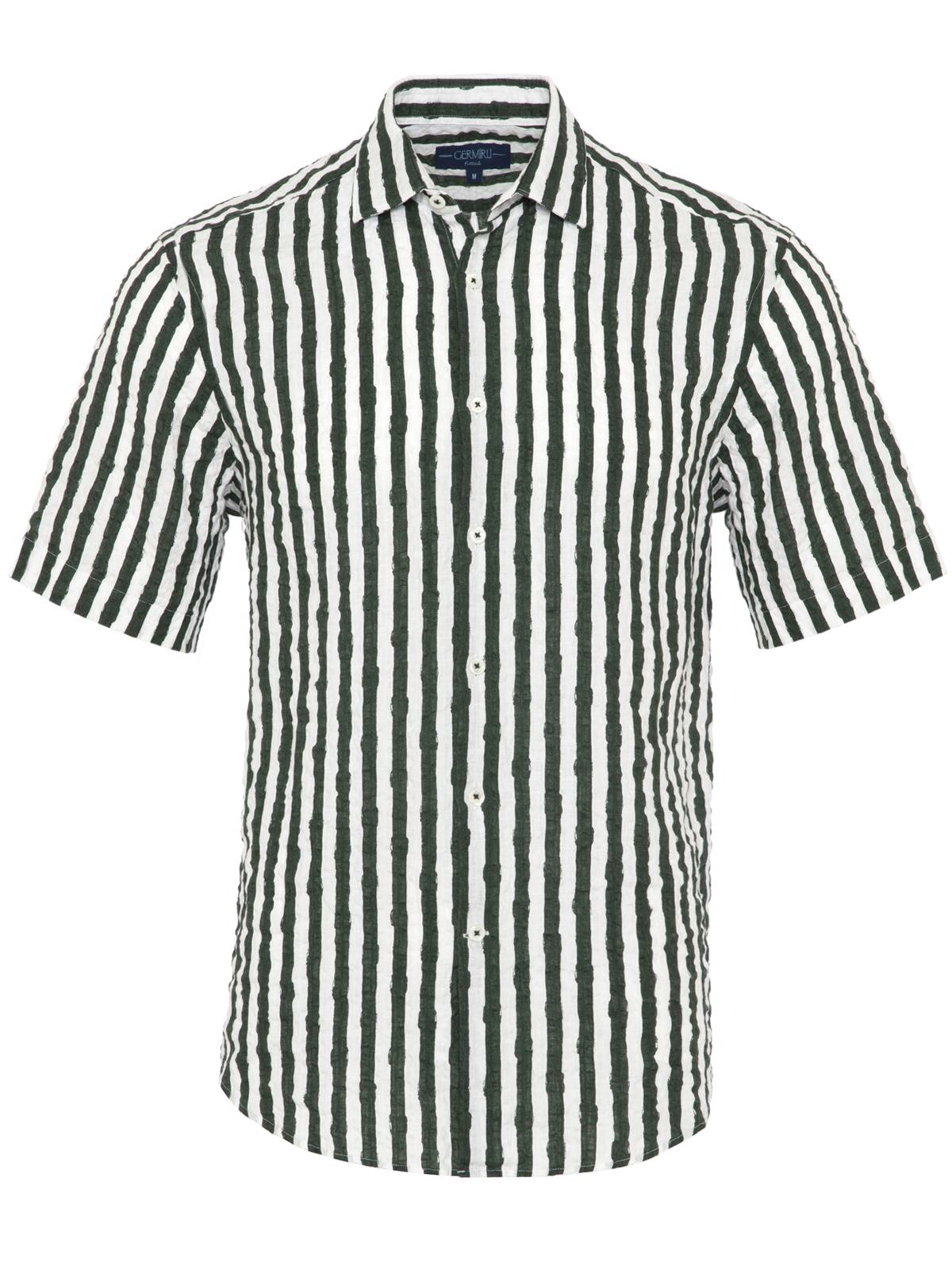 Germirli Yeşil Beyaz Çizgili Seersucker Kısa Kollu Tailor Fit Gömlek
