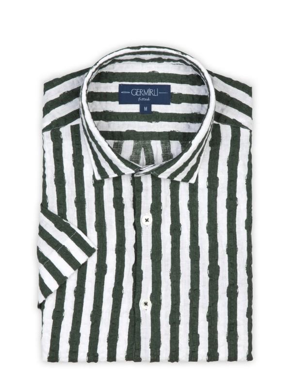 Germirli - Germirli Yeşil Beyaz Çizgili Seersucker Kısa Kollu Tailor Fit Gömlek (1)