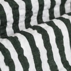 Germirli Yeşil Beyaz Çizgili Seersucker Kısa Kollu Tailor Fit Gömlek - Thumbnail