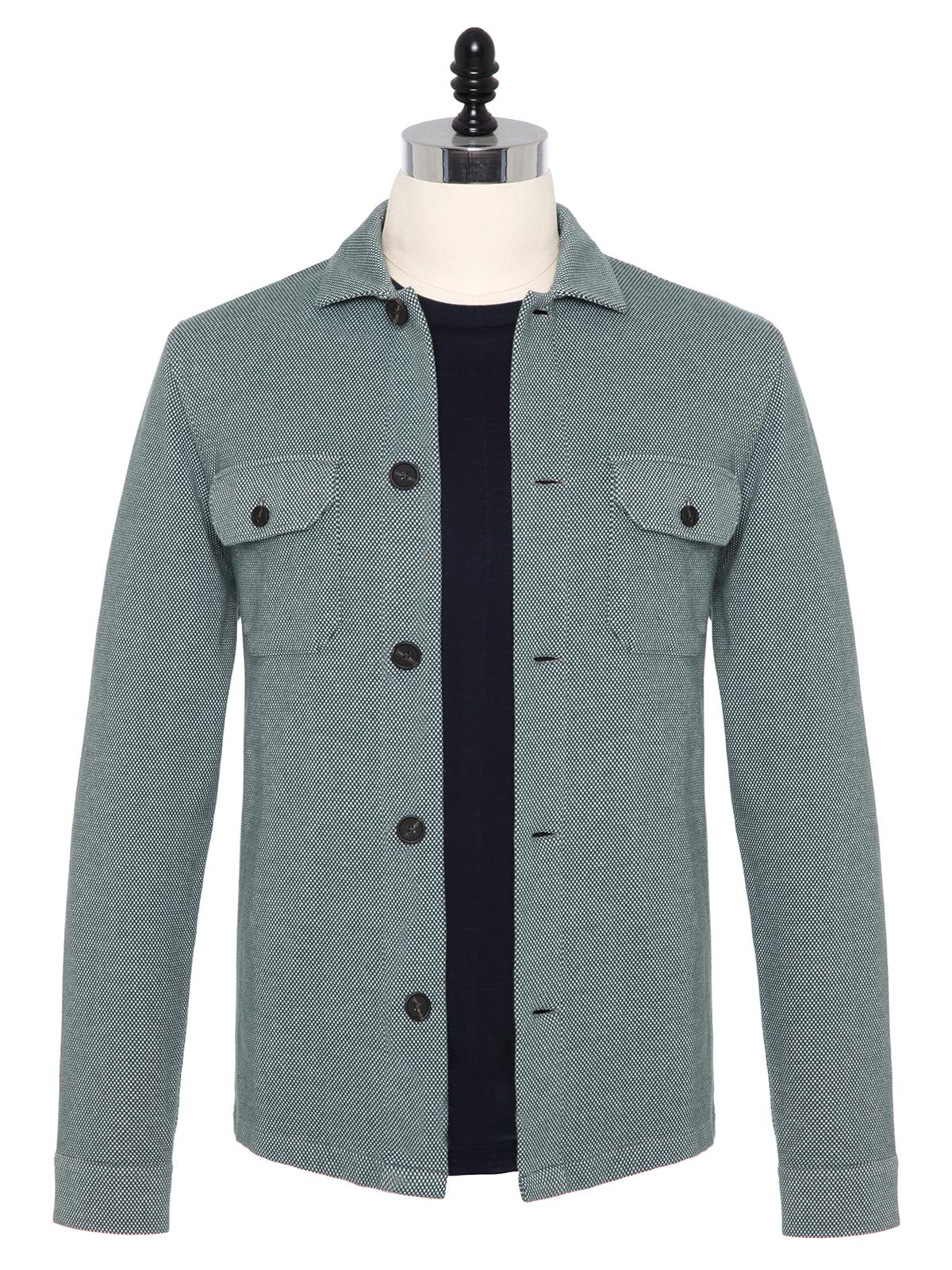 Germirli - Germirli Yeşil Beyaz Dokulu Örme Tailor Fit Ceket Gömlek
