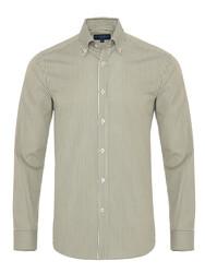 Germirli Yeşil Beyaz İnce Çizgili Düğmeli Yaka Tailor Fit Gömlek - Thumbnail