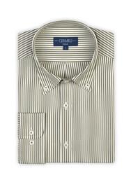 Germirli - Germirli Yeşil Beyaz İnce Çizgili Düğmeli Yaka Tailor Fit Gömlek (1)