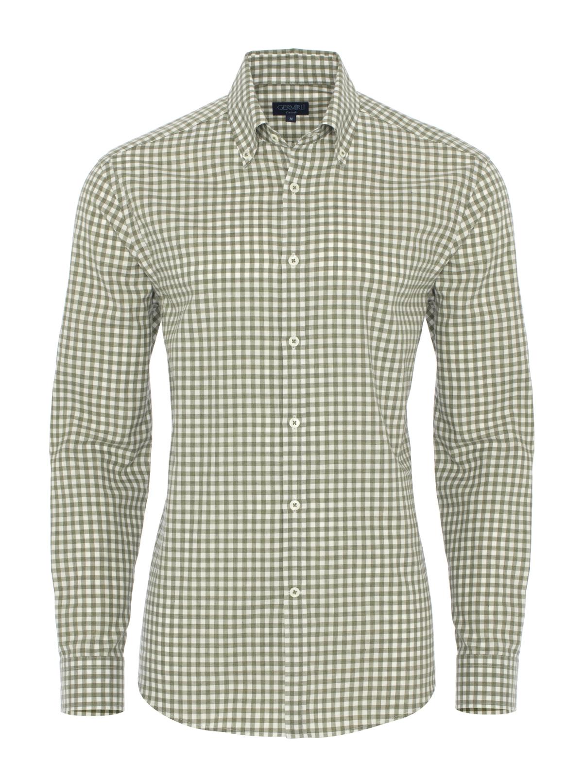 Germirli Yeşil Beyaz Kareli Flanel Tailor Fit Gömlek