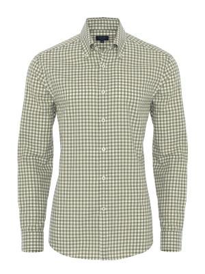 Germirli - Germirli Yeşil Beyaz Kareli Flanel Tailor Fit Gömlek