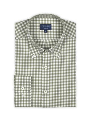 Germirli - Germirli Yeşil Beyaz Kareli Flanel Tailor Fit Gömlek (1)