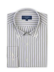 Germirli - Germirli Yeşil Beyaz Lacivert Çizgili Düğmeli Yaka Tailor Fit Gömlek (1)