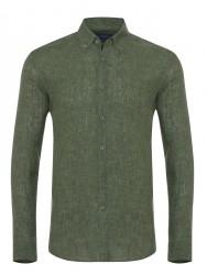 Germirli - Germirli Yeşil Delave Keten Düğmeli Yaka Tailor Fit Gömlek