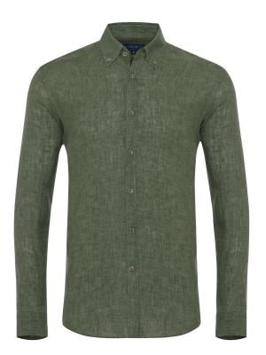 Germirli Yeşil Delave Keten Düğmeli Yaka Tailor Fit Gömlek