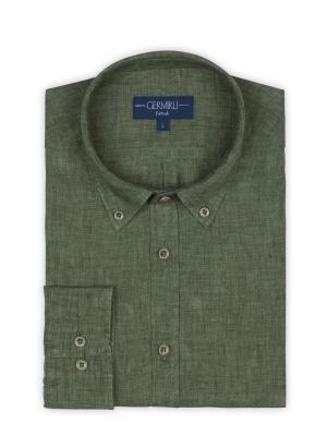Germirli - Germirli Yeşil Delave Keten Düğmeli Yaka Tailor Fit Gömlek (1)