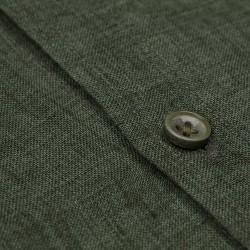 Germirli Yeşil Delave Keten Düğmeli Yaka Tailor Fit Gömlek - Thumbnail
